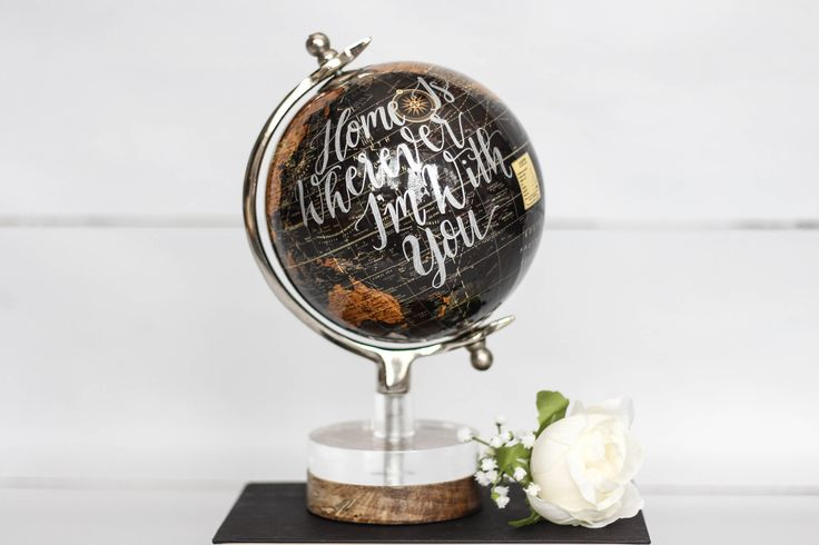 Home Is Wherever I'm With You - Medium, Black, Rustic, World Globe, Earth Tones, Travel, Anniversary Gift, Travel Wedding by SimplyGypsyDesigns on Etsy