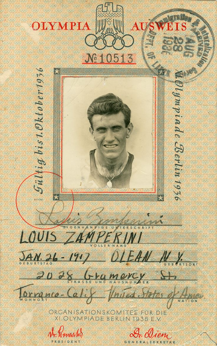 Louie's 1936 Berlin Olympic pass.