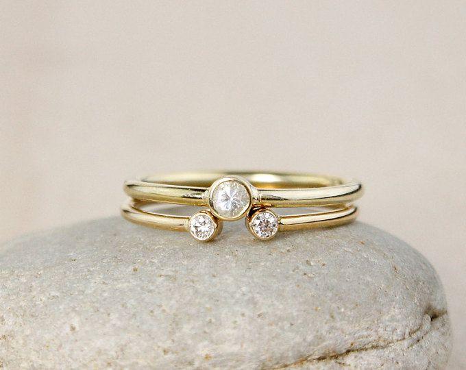 Gold Dual Diamond Ring Set – Diamond or White Sapphire - Modern Wedding Set