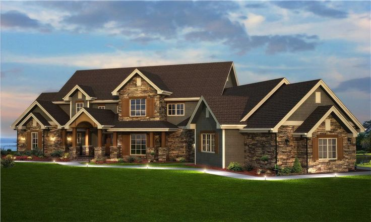 Detailed photo-realistic rendering of this six-bedroom, traditional home. (161-1003)