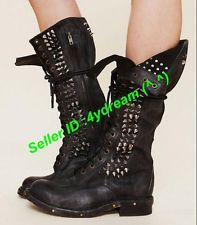 Vintage Biker Women Punk Rivet Motorcycle Studded Leather Lace Up Military Boots