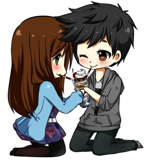 Pin by spider weeb on brunette black hair cute chibi - Cute anime couple pictures ...