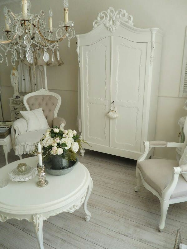 Shabby chic Yes please  Love the table chairs and armoire