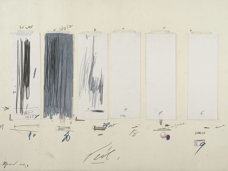Cy Twombly, Untitled, 1970, Crayon, graphite pencil, ink, oil stick, colored pencil, tape, and cut and torn paper on paper. The Menil Collection, Houston; Gift of the artist. Photography by Paul Hester ©Cy Twombly Foundation