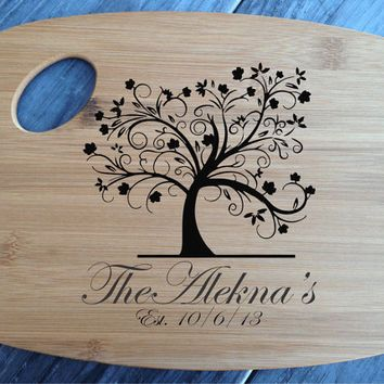 Personalized Tree Laser Engraved Bamboo Cutting Board Wedding Gift