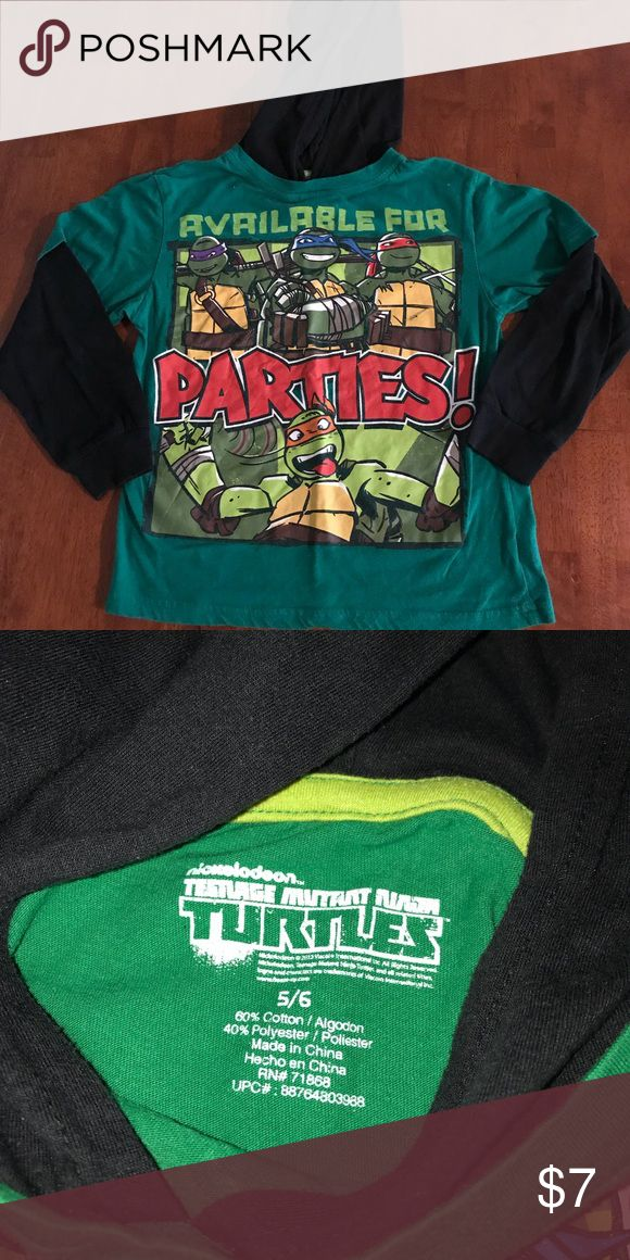Ninja Turtles hooded long sleeve shirt boys 5/6 Long sleeve hooded Nickelodeon Ninja Turtle shirt.  Boys size 5/6 Nickelodeon Shirts & Tops Tees - Long Sleeve