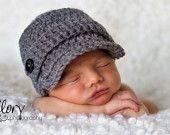 Baby Boy Hat Newborn, 0-3, 3-6, 6-12 month Infant Newsboy Gray Great Photo Prop. $25.00, via Etsy.