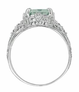 Edwardian Filigree Emerald Cut Prasiolite ( Green Amethyst ) Ring in Sterling Silver - Item SSR618GA - Image 3