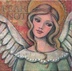 Original Mixed Media Folk Art Angel Painting: Fear Not by Maggie Raguse. $85.00, via Etsy.