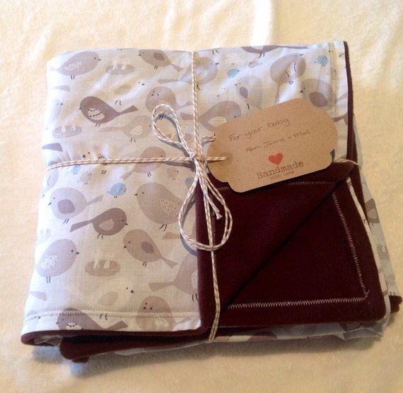 Check out Soft baby blanket, 100% cotton & fleece, warm baby blanket, baby's gift, cot blanket, infant blanket, birds, brown, cream, white on jamelhandmadegifts