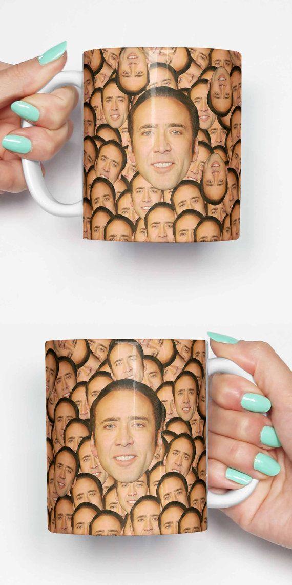 Nicolas Cage face partout - funny mug, cadeaux pour lui, meme tasse, tasse unique, tasse de bureau, cadeau de pendaison de crémaillère, cadeaux pour son 4P078A