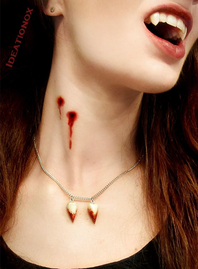 Bloody Vampire Fangs Necklace by Ideationox.deviantart.com on @deviantART