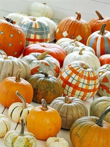 autumn decorations plaid pumpkins painted Halloween