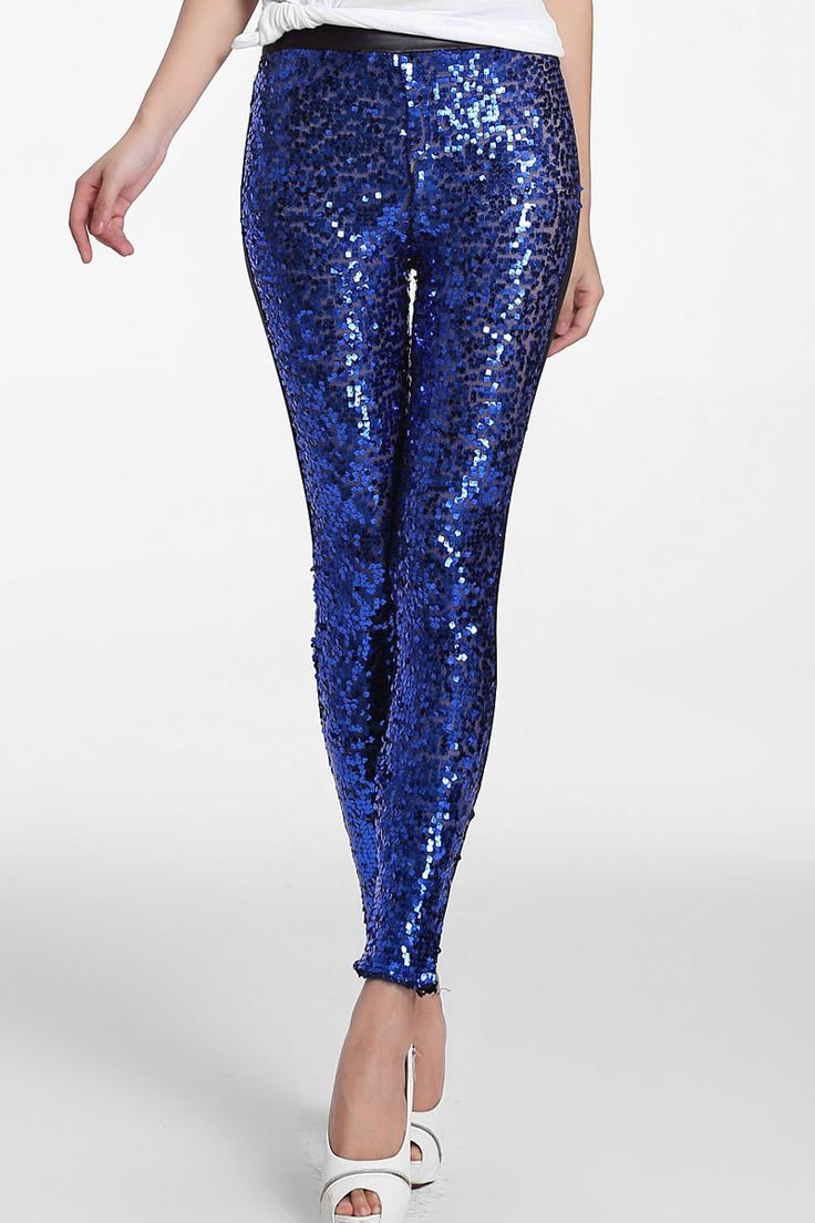 Sequin and Faux Leather Leggings