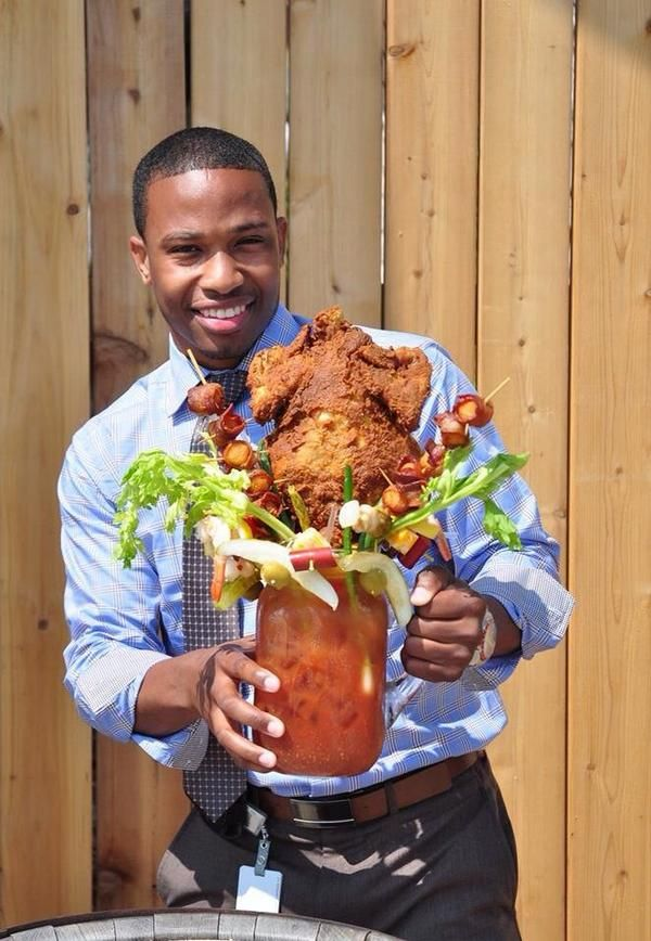 Bloody Mary that comes topped with entire fried chicken