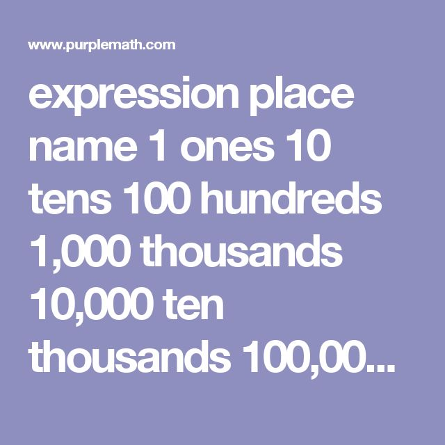 expression 	    	  place name  1   	    	    ones  10   	    	    tens  100   	    	    hundreds  1,000   	    	    thousands  10,000   	    	    ten thousands  100,000   	    	    hundred thousands  1,000,000   	    	   …
