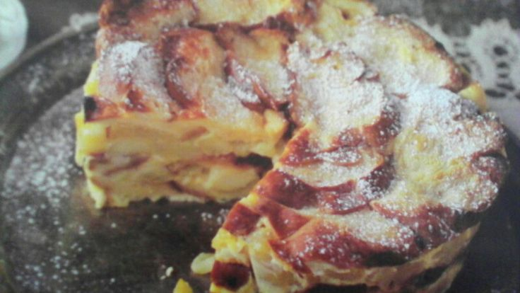 Zemlovka z Vianocky Vianocka nakrajana na cm kusky 0,5 l mlieka 4 vajicka 3 pl cukor Vanilkovy cukor Skoricovy cukor 5 jablk  Mlieko, vajicka a cukre spolu poriadne zmiesame (mozme pridat trochu slahacky).  Jablka nakrajane na platky osmazime na 150 g masla na panvici cca 10 min.  Do kruhovej formy ukladame platky Vianocky namacanej v mliecnej zmesi a striedame ukladanie s jablkami, kazdu vrstvu vianocky este trochu zalejeme. Na vrch poukladame pekne platky jablk, cele zalejeme zvyskom…