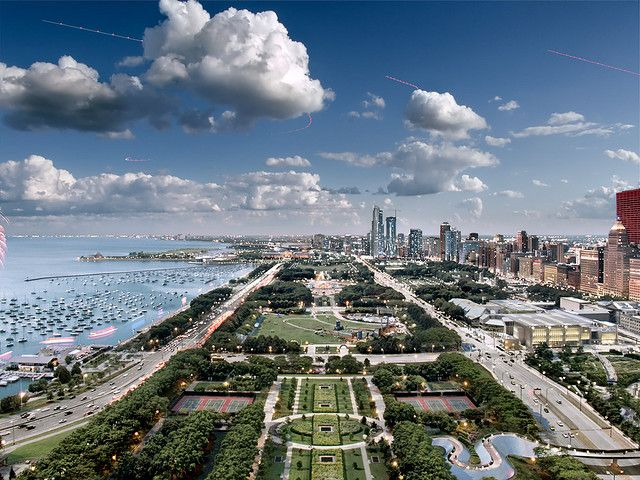 Cool shot of the lakefront in Chicago, IL -- if you've never been. GO!