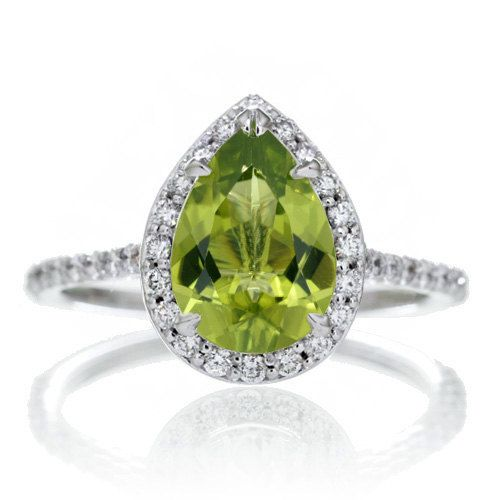 14K White Gold Pear Cut Peridot Engagement Ring Shape Diamond Halo Alternative Engagement Solitaire Wedding Anniversary Gemstone Ring