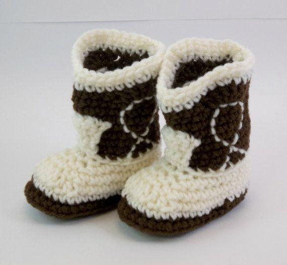 Baby  Booties Dark Brown and Ivory Cowboy by TwentySecondStreet, $18.00