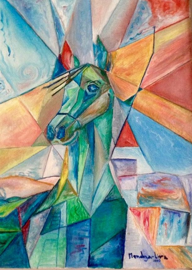 Cubic horses ( how many you can see ?) Oil over carton stone  Private collection Europe