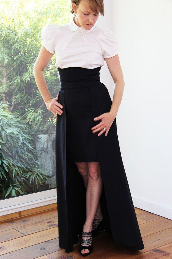 #etsyrunway Navy maxi skirt maxi skirt with pockets high by JolyDagmara