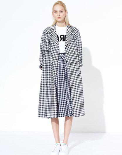 LE CIEL BLEU Gingham Check Coat and Skirt, Paris Tee