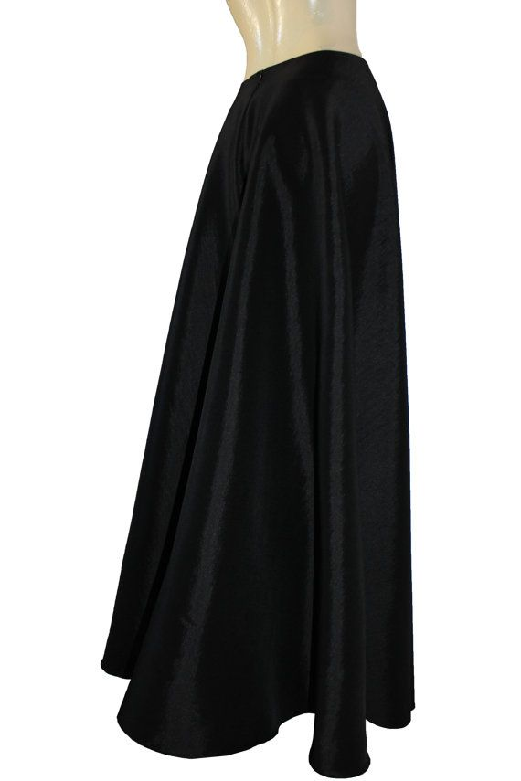 black taffeta skirt maxi formal evening skirt xs s m l