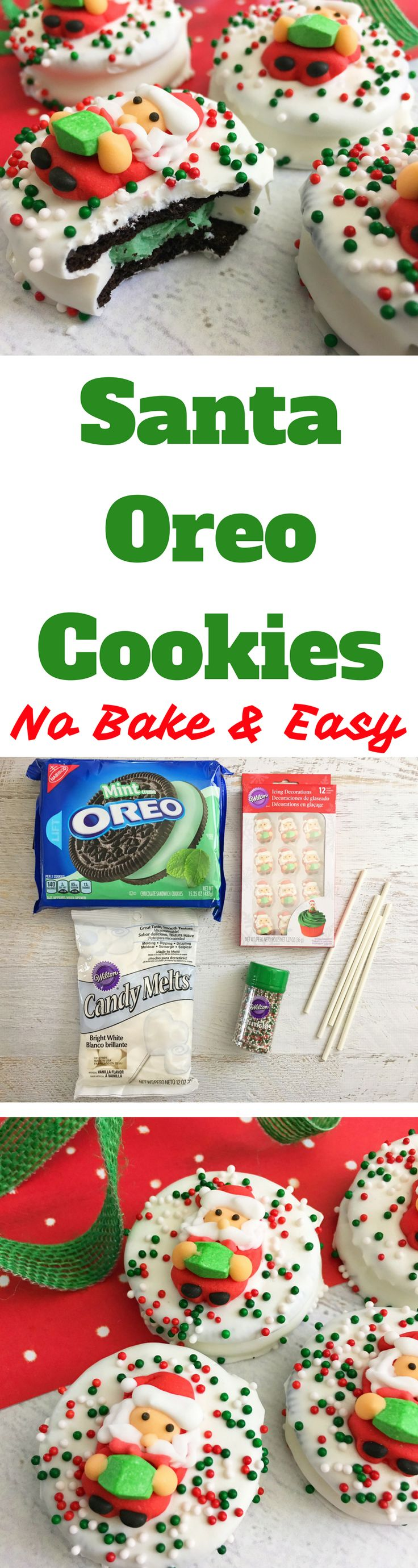 Take the guesswork out of holiday treats and make these no-bake Christmas cookies. These Santa Oreo Cookies are so easy and impressive. #ChristmasCookies
