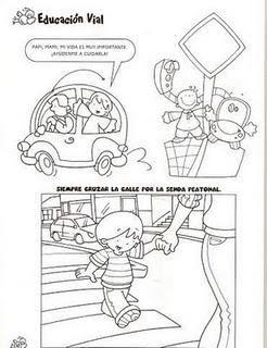 DIBUJOS PARA COLOREAR DE EDUCACIÓN VIAL