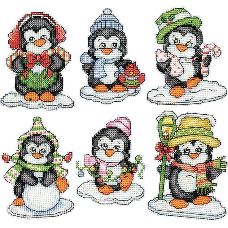"""Penguins On Ice Ornaments Counted Cross Stitch Kit-3.5"""" 14 Count Set Of 6"""