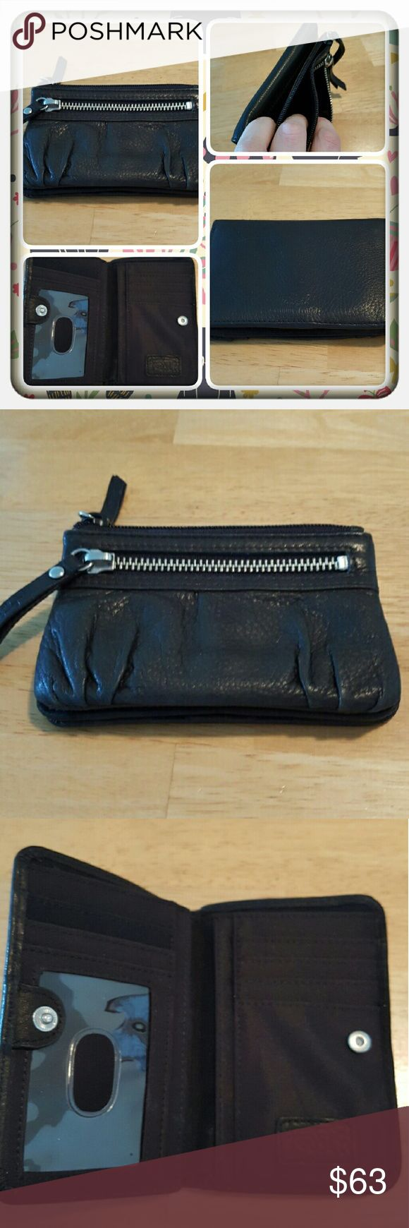 EUC Genuine Leather Fossil Wallet  Genuine Leather Fossil Wallet In Black. This Is A Cute Wallet With So Many Pockets Very Compact So It Doesn't Take Up Alot Of Room In A Purse It's Along The Lines Of The Style Called Erin Just Smaller. Excellent Condition Purchased From Another Seller But I Never Used I Have To Many Wallets  PAYPAL  TRADES  LOWBALLING  Fossil Bags Wallets