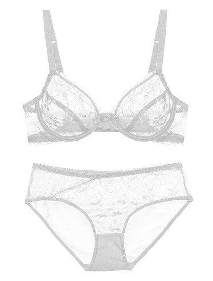 Sheer Lace Low Cut Bra Set (White)
