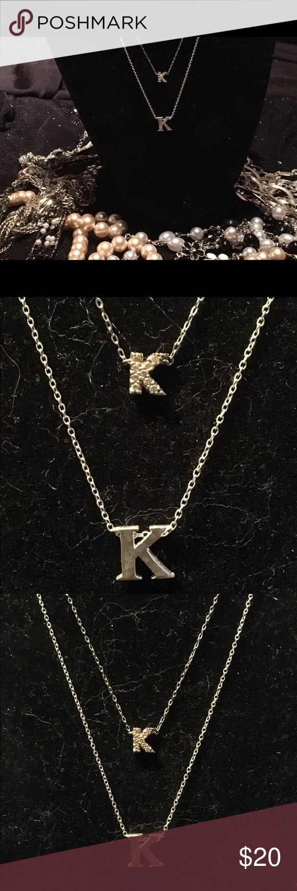 Does Your Name Start With A K😘💖💕🛍📦 I have so many K pieces or pieces that have my initials on them I am letting some of my go bc it seems like everything I have is my favorite, then I lose a room to storage! These r 2 great pieces u can wear them together which is how I have them shown & priced or if you are interested in them individually let me know. They differ in length so it's nice difference between them both are solid sterling silver and one has tiny czs. Modeled after designer…