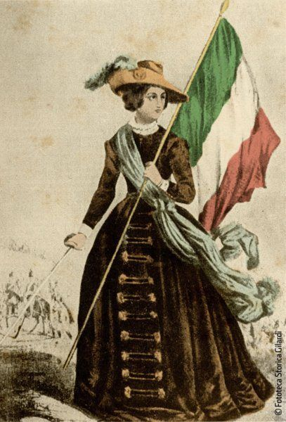 Cristina Belgioioso Trivulzio con bandiera patriota del risorgimento milanese