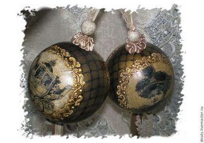 """Набор деревянных шаров """"Винтаж"""" - шар на елку,шар деревянный,деревянный шар"""