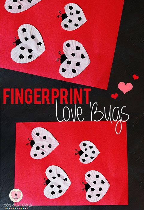Fingerprint Love Bugs Easy Valentine's Day Craft