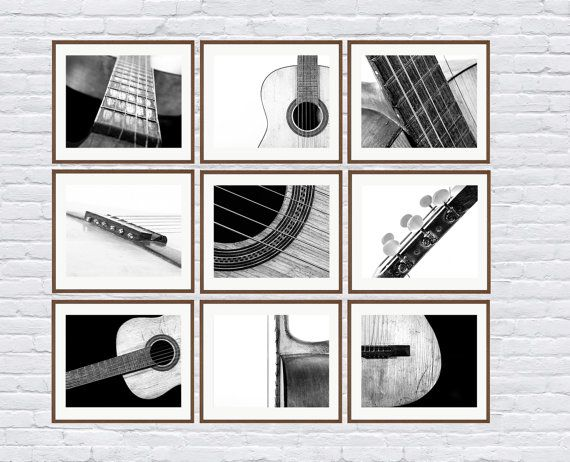 CHRISTMAS in JULY SALE Black and White Vintage Acoustic Guitar Parts, Set of Nine Photo prints, Music theme, guitar room, Music Decor