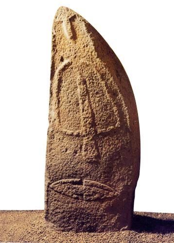 """Menhir  (from Breton men and hir """"long stone"""") are the megaliths (from the greek """"big stone"""") monolithic, usually erected during the Neolithic, which could reach more than twenty feet high, such as the Great Menhir in Britain."""