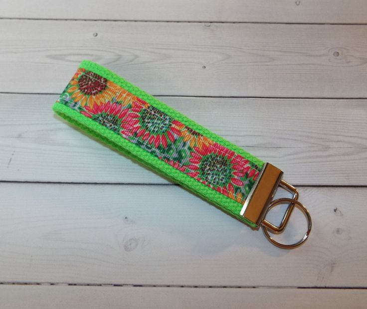 Sunflower Key Fob - Wristlet - keyChain - key chain - green sunflowers #Handmade  preppy / fabric / cute / patterns / key chain / office, nurse, student id, badge / key leash / gifts / key ring / design your own / add a colorful tassel