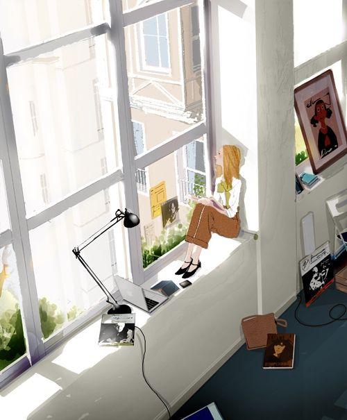 Afternoon reading / Tarde lectora (ilustración de Kim Ji-Hyuck -Hanuol-)