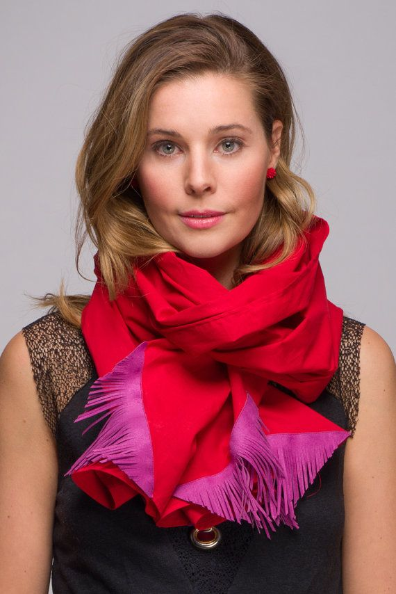 Red Cotton Scarf with Purple Fringe Corners by WICKandPoppy on Etsy, $52.60