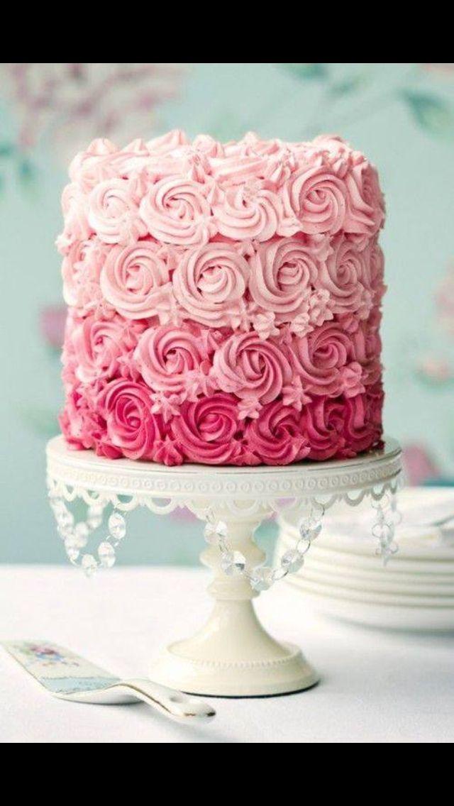 Light to dark pink ombr cake  Cakes  Cake Valentine cake Pink ombre cake