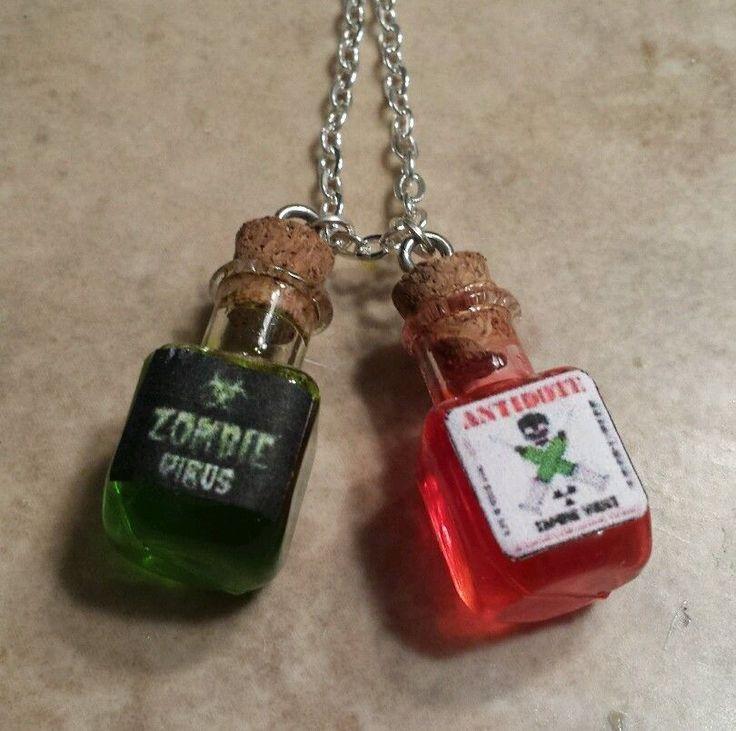 Fun Zombie Virus/Antivirus Bottle Charms Necklace Potion Walking Dead Gothic | eBay