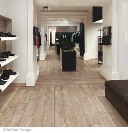 Walker Zanger Stark Collection Porcelain tile. Shown in Taupe Field in a custom cut. Multiple colors available.