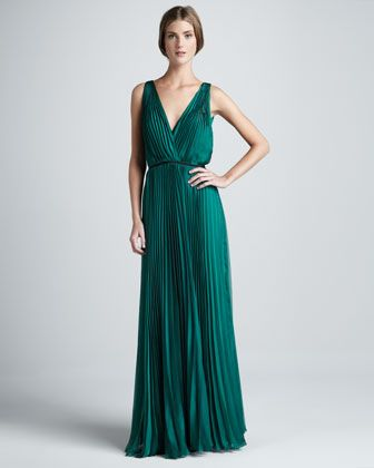 Halston Heritage Pleated Sleeveless Gown - Neiman Marcus