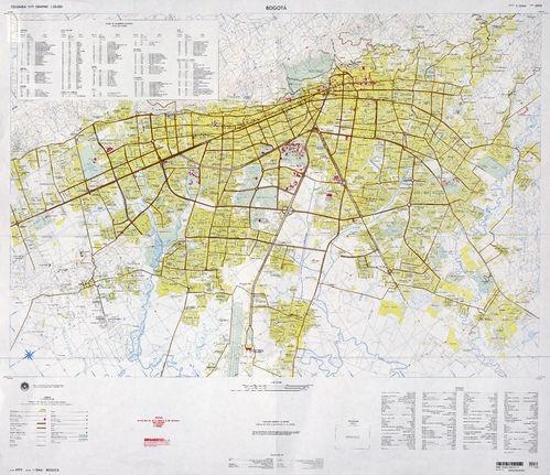 Mapa de Bogotá 1980. escala original 1:25,000  Fuente:U.S. Defense Mapping…