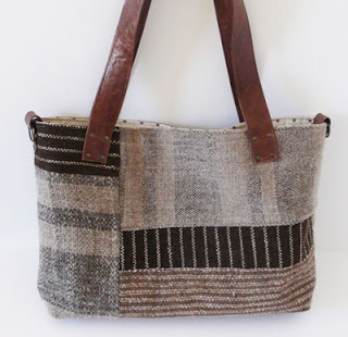 senhouse: Lovely tote bag with hand woven wool fabric