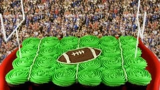 Superbowl Football Pullapart Cupcake Cake - A Cupcake Addiction How To NFL Tutorial, via YouTube.