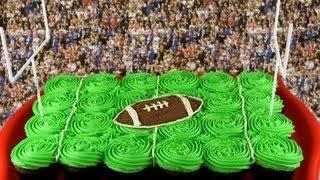 Superbowl Football Pullapart Cupcake Cake - A Cupcake Addiction How To NFL Tutorial, via YouTube.